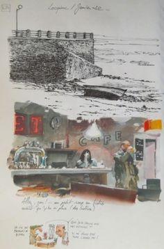 Une bretagne par les contours/ Locquirec Watercolor Sketch, Watercolor Paintings, Contour, Book Cafe, Sketchbook Pages, Building Art, Urban Sketchers, Poster Prints, Art Prints