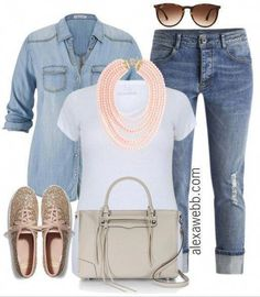 Plus Size Outfit Ideas - Casual Jeans & A Tee - Alexa Webb - Plus Size Outfit Ideas – Plus Size Jeans and a Tee – Plus Size Fashion for Women – alexawebb. Outfit Jeans, Lässigen Jeans, Mode Jeans, Casual Jeans, Denim Shirt, Plus Size Jeans, Look Plus Size, Plus Size Casual, Mode Outfits