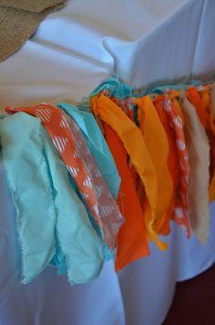 Orange blue wedding