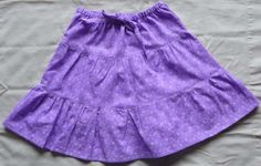 Lavender Purple and Flowers Three Tiered Twirly Skirt Girl Size 7  8 | TEJA - Clothing on ArtFire