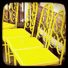 Paris Photography French Cafe Lemon Yellow Wall by CarlChristensen Blue Distressed Furniture, Yellow Walls, Yellow Chairs, Office Chair Without Wheels, I Love Lamp, French Cafe, Mid Century Dining Chairs, Paris Cafe, Mellow Yellow