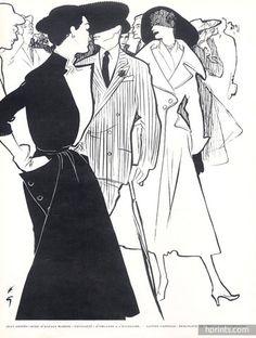 Jacques Fath (Couture) 1951 René Gruau, Back: Lanvin Castillo, Jean Dessès — original fashion print