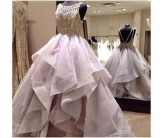 Long Backless Lace Puffy Tulle Prom Dress,Ball Gown Evening Dress ,Prom Dress For Juniors And Teens, PD0013