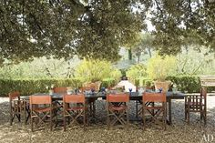 Sting and Trudie Styler's farm in Tuscany: An oak tree shades a gravel dining area, where lunch is often served.