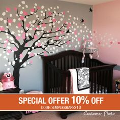 This wall decal is a mature version of our Trailing Cherry Blossom Tree. Make it the focal point of your living room, family room or baby nursery
