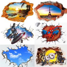 871d72f1479192 Removable 3D Minions Avengers Wall Sticker Mural Kid Room Home Wallpaper  Decal  Unbranded  ArtsCraftsMissionStyle