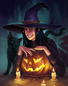 Halloween Artwork, Halloween Pictures, Scary Halloween, Gothic Fantasy Art, Beautiful Witch, The Good Witch, Witch Art, Samhain, Cat Art