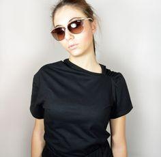 Black top/ short sleeves top. by Mirastudio on Etsy https://www.etsy.com/listing/266214721/black-top-short-sleeves-top