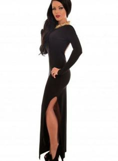 black long sleeve dress #maxidress #slitdress #lbd