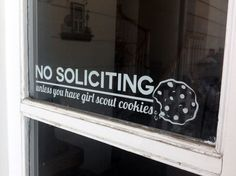 No Soliciting Vinyl Decal by adapperduck on Etsy, $10.00