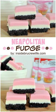 Chocolate, vanilla, and strawberry layers in a cute, easy to make fudge.(I would use different recipe for fudge and use this base) Fudge Recipes, Candy Recipes, Baking Recipes, Sweet Recipes, Cookie Recipes, Dessert Recipes, Bake Sale Recipes, Homemade Fudge, Homemade Candies