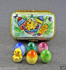 NEW FRENCH LIMOGES BOX EGG CARTON WITH 5 REMOVABLE EASTER EGGS W HATCHING CHICK