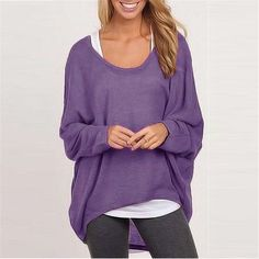 Autumn Women Sweater Jumper Pullover Batwing Long Sleeve Casual Loose Solid Blouse Shirt Top Plus Femininas Blusas Autumn