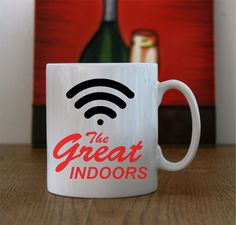 "Ceramic Mug with ""The great indoors"" & WiFi logo, WiFi great indoors Coffee/Tea mug, The great indoors WiFi coffee mug, WiFi Coffee/Tea Mug. by LittleMonkeyCasuals on Etsy"