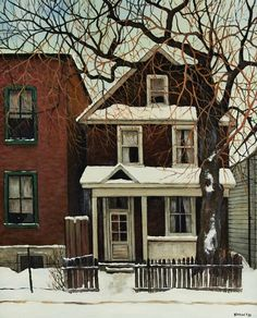 'Sunday Morning, Adeline Street, Ottawa' by John Kasyn at Cowley Abbott Winter Landscape, Urban Landscape, Landscape Art, Building Painting, City Painting, Canadian House, House Painter, Impressionist Art, Acrylics