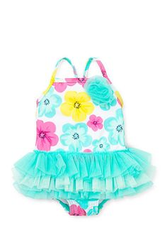 Little Me 1-Piece Hibiscus Tutu Swimsuit