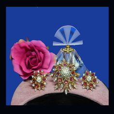 Parures/Sets - Vintage faux ruby diamond brooch earrings. Signed JOMAZ AND JOSEPH MAZER