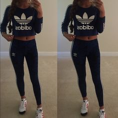 Adidas XS outfit Floral legging & crop top Adidas Pants Leggings