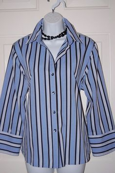 Foxcroft Shirt Blue Striped Top 14 Fitted Blouse Wrinkle Free #Foxcroft #ButtonDownShirt