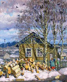 New landscaping watercolor realistic Ideas Russian Painting, Russian Art, Winter Painting, Winter Art, Landscape Art, Landscape Paintings, Socialist Realism, Soviet Art, Cartoon Art Styles