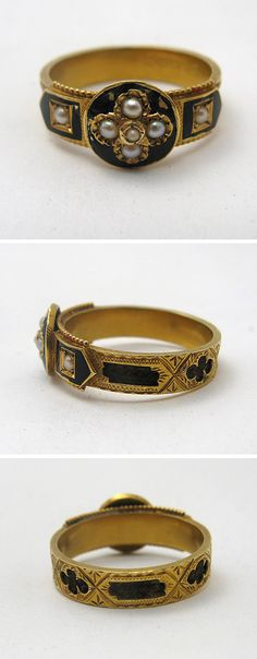 Victorian 19th C. Enamel, Gold, Seed Pearl Mourning RIng   Beautiful Victorian mourning ring in 15 carat gold, typical of the time period. It consists of black enamel, seed pearls and braided locks of hair, which were commonly used as mementos.