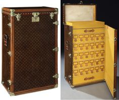 Rare 1920s Louis Vuitton Shoe Trunk.  It contains compartments for 30 pairs of shoes in individual shoe boxes with ancillary drawers and trays for a shoe-cleaning kit. Each of the padded drawers features a leather pull tab and nameplate.