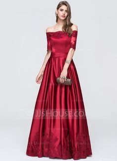 mom-[US$ 147.49] A-Line/Princess Off-the-Shoulder Floor-Length Satin Prom Dress With Ruffle
