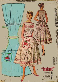 M2104 McCalls Vintage Wrap -around Apron Pattern (it's more dress than apron!)...oh, I just loveeeee this<3