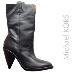 """NEW Michael Kors KORS  BLACK LEATHER BOOTS 6.5 These pull-on NEELY oiled calf leather mid-calf boots by Michael KORS feature cowgirl / boy boot style seam detail. Pull tabs and 2"""" slit at front top. 3.5"""" stacked heel. 9"""" shaft and 13"""" circumference. Leather sole. Cut out wedge. New in box with price tags. Boots have been tried on at the shoe store. Additional pics coming soon.  * Made in Brazil. * This item will ship only in its original box, carefully wrapped. Michael Kors Shoes Heeled…"""