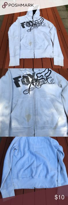 Fox Fleece Hoody Size small. This is a mens Fox hoodie. It's fleece inside. White outside with black logo. Flaw is the stains on the front, just needs beach pen! Fox Tops Sweatshirts & Hoodies