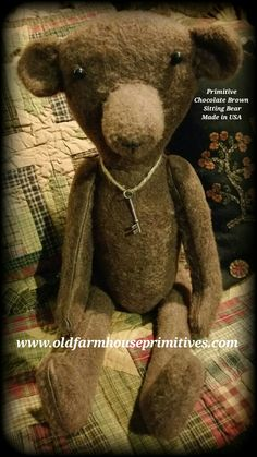 Primitive Sitting Chocolate Brown Bear (Made In USA)