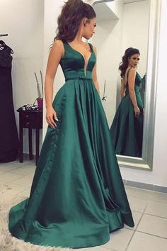 6fc6c9193 Green A Line Sweep Train Deep V Neck Sleeveless Low Back Satin Prom  Dress