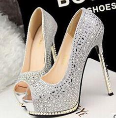 Peep Toe Thin Glitter Heels