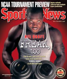 When it comes to his off-season training, Terrell Suggs does workouts as creative as they are grueling. According to an LA Times article, Suggs trains in … Sports Magazine Covers, Terrell Suggs, Ncaa Tournament, Athlete Workout, Arizona State, Sports News, Nfl, Muscle, Ravens