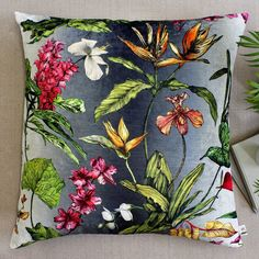 Terrarium Designs Tropical Hothouse Botanical Floor Lawn Throw Pillow. ($185) ❤ liked on Polyvore featuring home, home decor, throw pillows, tropical throw pillows, floral throw pillows, orchid terrarium, garden terrarium and tropical home decor