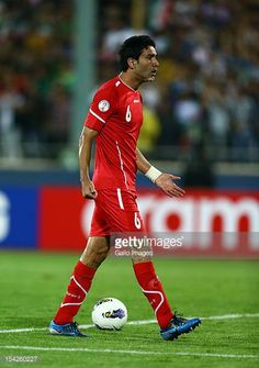 Javad Nekounam during the FIFA 2014 World Cup qualifier match between Iran and Korea Republic at Azadi Stadium on October 16 2012 in Tehran Iran