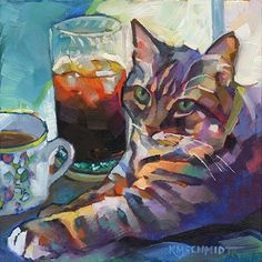 Just Landscape Animal Floral Garden Still Life Paintings by Louisiana Artist Karen Mathison Schmidt: Coffee, Tea or Me fauve impressionist alla prima daily oil painting of a gray tiger tabby cat with coffee & iced tea • illustration art: a multicolored tabby cat with green eyes • professional pet portrait by Louisiana artist KMSchmidt