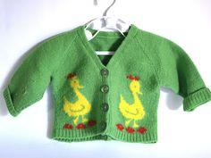 Premmie Baby Green Wool Jacket - Vintage Retro Yellow Ducks Handmade Coat - Newborn Super Cute! by FunkyKoala on Etsy