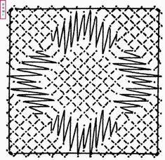 Le carré ci-dessous est réalisé en grille sur fond torchon :   Si vous réalisez un ouvrage avec les cartons proposés par Dominique...