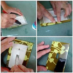 DIY Fabric Covered Light Switch Plates  {Vickie Howell | Blog: I Love to Create}