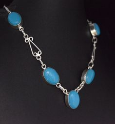 Glamorous Blue Onyx For Her Gift Ideas Sterling Silver Plated New Necklace E54 #valueforbucks #Bib