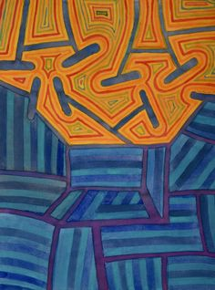 """""""Blue Striped Segments Combined With An Orange Area"""" by Heidi Capitaine - Shop prints on Artsider http://www.artsider.com/works/43144-blue-striped-segments-combined-with-an-orange-area"""