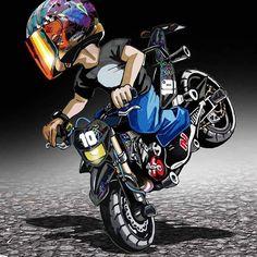 Badass Motorcycle Artwork by Scaronistefano Moto Bike, Bike Art, Motorcycle Helmets, Stunt Bike, Bike Photography, Yamaha Yzf, Valentino Rossi, Super Bikes, Street Bikes