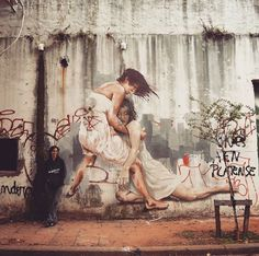 Street Art colab by Spear Paintings & Leticia Bonetti found in Buenos Aires Argentina