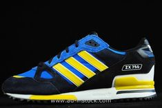 finest selection 1bd49 202a2 Sale Adidas Originals ZX 750 Couples Running Shoes Black Blue Yellow Zx750  Adidas