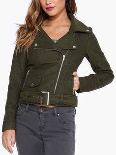 Wool Moto Jacket in Olive