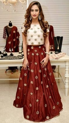 Maroon raw silk skirt and crop top – FashionVibes 8dc907f0b