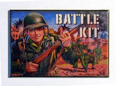 "Vintage BATTLE KIT Lunchbox 2"" x 3"" Fridge MAGNET Art"