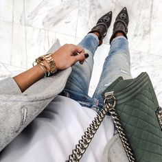 insta inspo, love the green chanel bag, lovely detail for a simple outfit