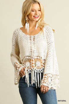 U2049 UMGEE Bohemian Cowgirl Knit Crochet Top with Fringe Hem Natural